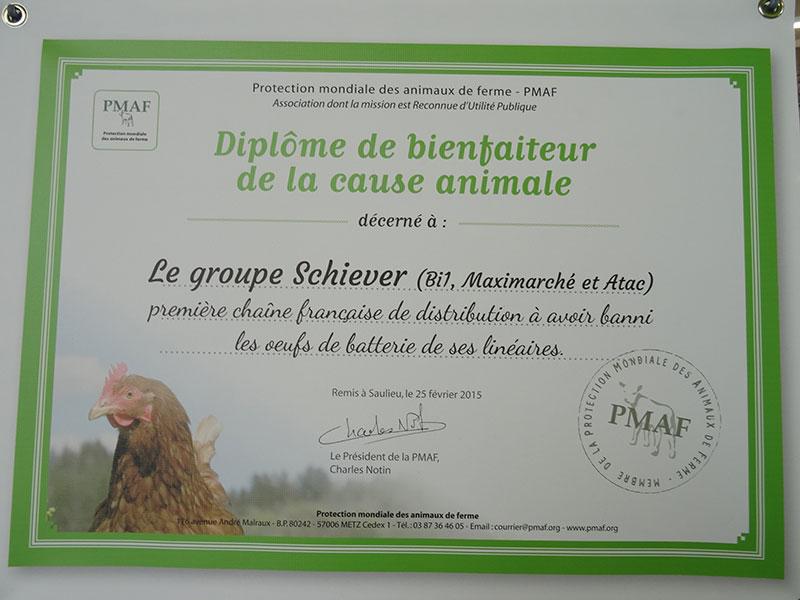 Diplôme de bienfaiteur de la cause animale